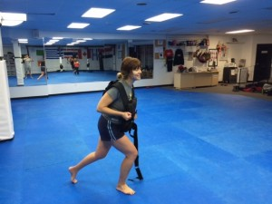 This is Kaitlyn doing lunges wearing a WEIGHTED VEST. No biggie.