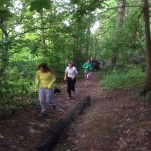 Annie and the High Park crew running through the trails at dawn