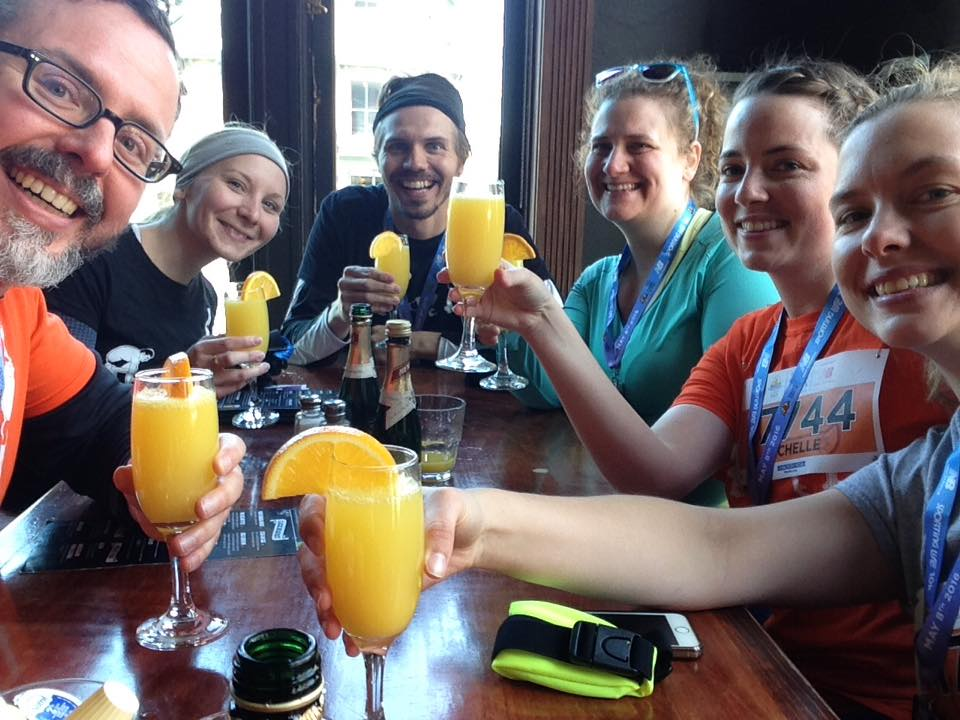 The Fit Feels Good team having mimosas after the Sporting Life 10K